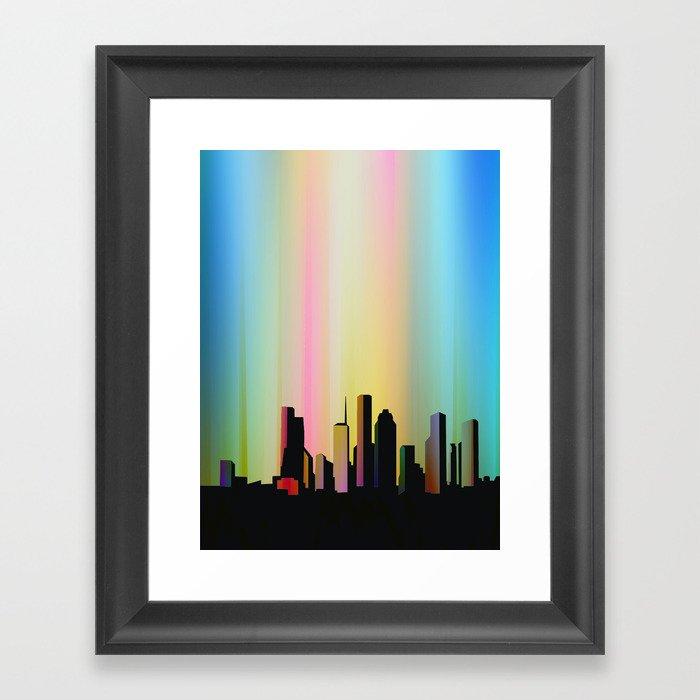 Cityscape through the veil Framed Art Print