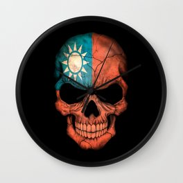Dark Skull with Flag of Taiwan Wall Clock