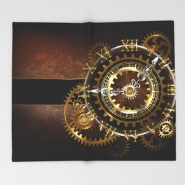 Steampunk Clock with Gears Throw Blanket