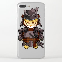 Samurai Cat, Kitten Warrior, Cat Ronin, Cat Musashi Clear iPhone Case