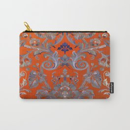 Painted Tibetan Brocade orange Carry-All Pouch