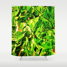Fluid Painting 3 (Green Version) Shower Curtain