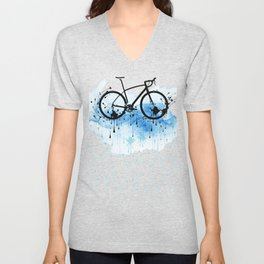 watercolor bicycle Unisex V-Neck