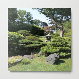Japanese Garden View With Lantern Metal Print