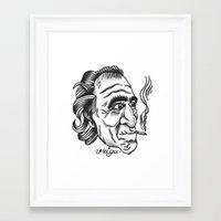 bukowski Framed Art Prints featuring Bukowski by @VEIGATATTOOER
