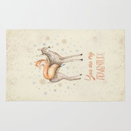 You are my adventure- fox and deer in winter- merry christmas Rug