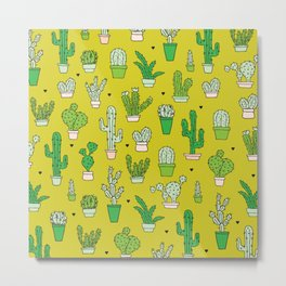 Botanical dessert cactus pattern Metal Print