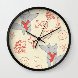 Fox in love beige Hearts Wall Clock