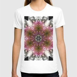 Floral Abstract Pretty In Pink and Silver T-shirt