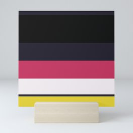 A beautiful miscellany of Anti-Flash White, Raisin Black, Almost Black, Dingy Dungeon and Sandstorm stripes. Mini Art Print