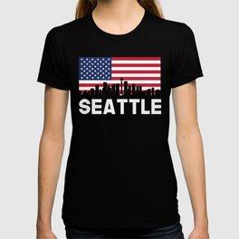 Seattle WA American Flag Skyline T-shirt