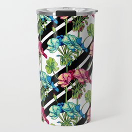 Flowers & Strips Travel Mug