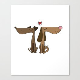 Dog Couple Love Dackel Dachshund Present Gift Canvas Print