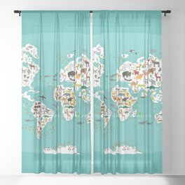 Cartoon animal world map for children and kids, Animals from all over the world Sheer Curtain