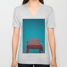 Red Chair in the Sky Unisex V-Neck