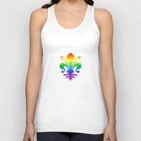 fleur de lis Tank Tops featuring Rainbow Fleur-de-Lis by Cool Prints