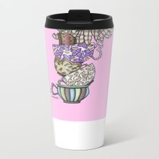 Owlice Wants Another Cup of Tea Pink Metal Travel Mug