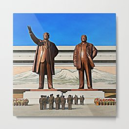 The Gods Of The North | Kim Il-sung And Kim Jong-il Oil Painting Metal Print