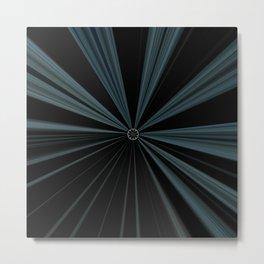 Black Velvet Silver Flower Button Design Metal Print
