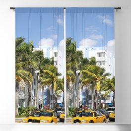 Yellow Cabs On Ocean Drive Blackout Curtain
