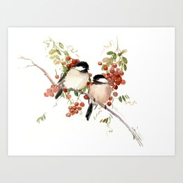 Chickadee Bird Vintage Bird Artwork, two birds, chickadees woodland design Kunstdrucke