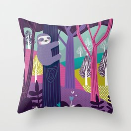 Sloth in the woods Throw Pillow