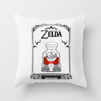 the legend of zelda Throw Pillows featuring Zelda legend - Red potion  by Art & Be