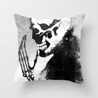 skeleton Throw Pillows featuring Skeleton by Jaaaiiro