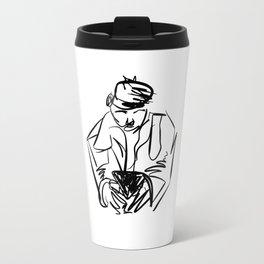 MAN ON PHONE Travel Mug
