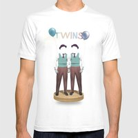 TWINS White MEDIUM Mens Fitted Tee