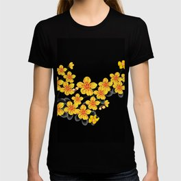 oriental orange sakura flower T-shirt