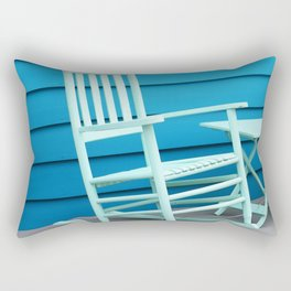 Coastal Beach House Art - Blue Rocking Chair - Sharon Cummings Rectangular Pillow