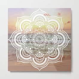 Beach Sunset Mandala Metal Print