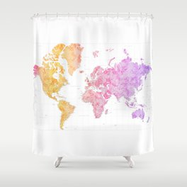 Colorful gradient highly detailed world map with cities, square, Missy Shower Curtain