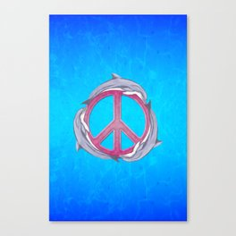 Dolphin Peace Pink Canvas Print