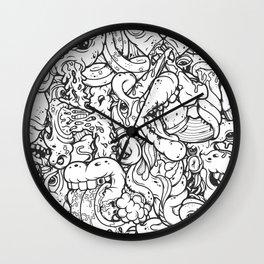 Alphabetcha Collage b&w Wall Clock