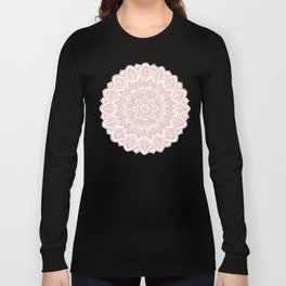 Boho White Mandala on Rose Gold Long Sleeve T-shirt