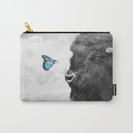 Bison and Butterfly (square format) Carry-All Pouch