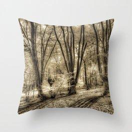 Sepia Forest Shadows Throw Pillow