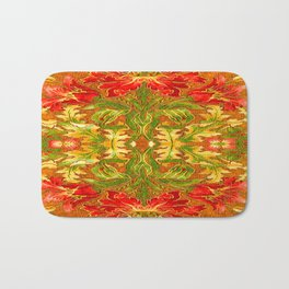 French Tapestry Style Red Poppy Floral Bath Mat
