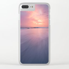 Sunset clouds and waves on empty beach Clear iPhone Case