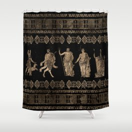 Greek Deities and Meander key ornament Shower Curtain