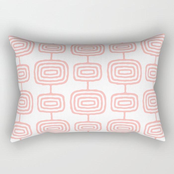 Mid Century Modern Atomic Rings Pattern Peach 3 Rectangular Pillow