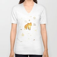 face V-neck T-shirts featuring Lonely Winter Fox by Teagan White