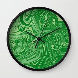 Green pastel abstract marble Wall Clock