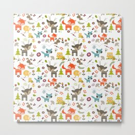 Cute Woodland Creatures Pattern Metal Print