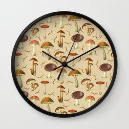 Wild Forest Mushroom Pattern Wall Clock