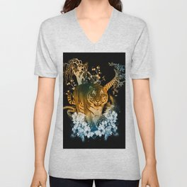 Beautiful tiger with flowers Unisex V-Neck