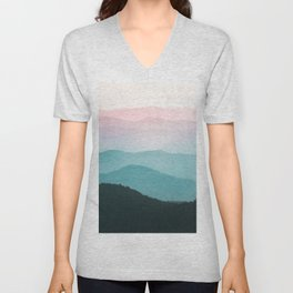 Smoky Mountain National Park Sunset Layers III - Nature Photography Unisex V-Neck