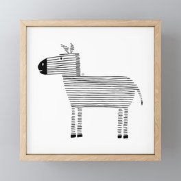 cute Zebra, black lines, drawing Framed Mini Art Print